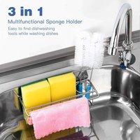 Sponge Holder for Kitchen Sink ,3 in 1 Adhesive Sponge Rag Brush Holder Dispenser,Dishwashing Organization Bask Drainer Racks ,SUS304 Stainless Steel