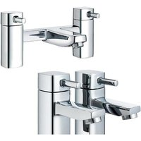 Square 1/4 Turn Chrome Bathroom Bath Filler Mixer and 2 x Basin Taps Set (ICE 52)