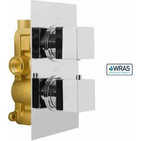 Square 2 Dial 1 Way Chrome Concealed Thermostatic Shower Mixer Valve Solid Brass WRAS