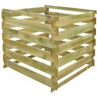 vidaXL Slatted Compost Bin 0.54 m3 Square Wood - Brown