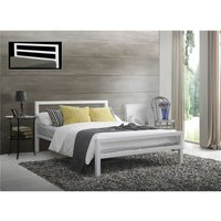 Square Tubular White Metal Bed Frame - Double 4ft 6