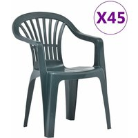 Youthup - Stackable Garden Chairs 45 pcs Plastic Green