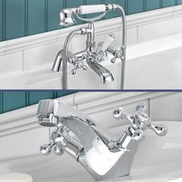 Stafford victorian Bath Shower Mixer and Basin Mono Mixer Tap - NESHOME