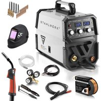 STAHLWERK MIG 135 ST IGBT - full equipment set - MIG MAG inert gas inverter welder 135 Ampere, suitable for Flux Cored Wire, with ARC Stick, 7 years