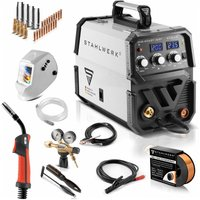 STAHLWERK MIG 200 ST IGBT- full equipment set - MIG MAG inert gas inverter welder 200 Ampere, suitable for Flux Cored Wire, with MMA ARC, 7 years