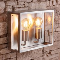 Biard - Stainless Steel Silver Outdoor Twin Wall Light IP44 Garden Patio Porch Door A++