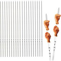 Stainless Steel Barbecue Skewers, 50 Pieces 35cm Stainless Steel Meat Skewers, Durable and Reusable, for Barbecue, Meat, Vegetables