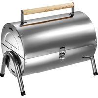 Tectake - BBQ stainless steel - charcoal grill, barbecue, charcoal bbq - silver