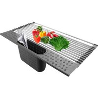 Stainless steel crockery spindle with cutlery carriers: 20  x 11  big dryer for kitchen sink drainetry + small insulating cushion for dining