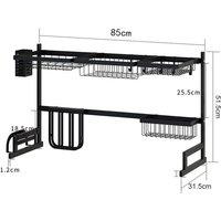 Stainless Steel Dish Rack Drainer Rack Organizer Over Sink Shelf Kitchen Storage - AUGIENB