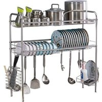 Stainless Steel Double Layer, Inner Length 90cm Kitchen Bowl Rack Shelf Silve