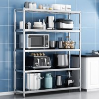 Stainless Steel Garage Kitchen Storage Shelf 5 Tier Commercial Shelving Rack 90x50x170cm