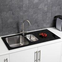 Stainless Steel Kitchen Sink 1.5 Bowl Black Glass Surround RH - Sauber