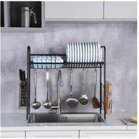 Stainless Steel Single Layer, Inner Length 90cm Kitchen Bowl Rack Shelf Black