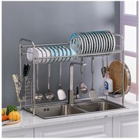Stainless Steel Single Layer, Inner Length 90cm Kitchen Bowl Rack Shelf Silver