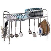 Stainless Steel Single Layer, Inner Length 90cm Kitchen Bowl Rack Shelf Silver