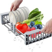 Stainless Steel Telescopic Draining Basket, Adjustable Dish Drayer Sink Extensible Sink Kitchen Drainer Organizer Sink For Vegetable Fruits