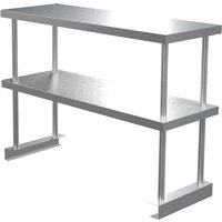Catering Kitchen Stainless Steel Double Tier Over Shelf for Prep Table, 90x30x60 cm