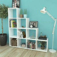 Staircase Bookcase/Display Shelf 142 cm White - White