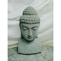 Wanda Collection - Statue de Bouddha buste en pierre volcanique extérieur zen 70 cm