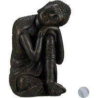 Statue de Bouddha figurine de Bouddha décoration jardin sculpture céramique Zen 60 cm, gris foncé - RELAXDAYS