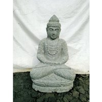 Wanda Collection - Statue d'extérieur zen Bouddha pierre volcanique position offrande 50 cm