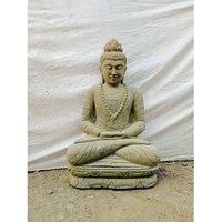 Wanda Collection - Statue exterieur jardin zen Bouddha en pierre volcanique assis collier 80 cm