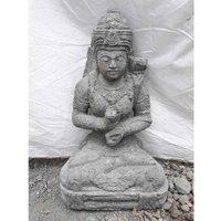 Wanda Collection - Statue jardin extérieur Déesse assise fleur 50 cm