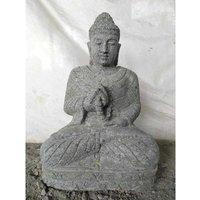 Wanda Collection - Statue jardin exterieur Bouddha assis pierre volcanique collier 50 cm