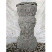 Statue Jardin Pot Déesse balinaise en pierre volcanique 80 cm - WANDA COLLECTION