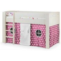 Stone White Mid Sleeper + Pink Star Tent Childrens Bed Frame - Single - ASHFIELD CHILDRENS