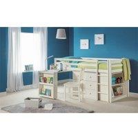 Stone White Practical Mid Sleeper Childrens Bed Frame - Single 3ft (90cm) - ASHFIELD CHILDRENS