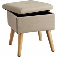 Stool Elva in upholstered linen look with storage space - 300kg capacity - bar stool, dressing table chair, dressing table stool - sand