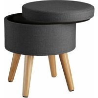 Stool Yumi with storage in linen look - dressing table chair, dressing table stool, kitchen stool - dark grey