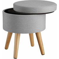 Stool Yumi with storage in linen look - dressing table chair, dressing table stool, kitchen stool - light grey