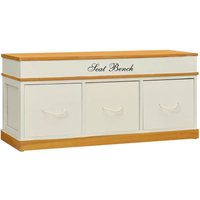 Youthup - Storage Bench Solid Paulownia Wood 100 cm