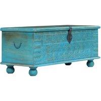 Zqyrlar - Storage Chest Solid Mango Wood Blue 100x40x41 cm - Blue