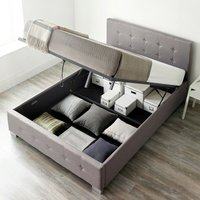 End Lift Ottoman Storage Bed Double Grey Linen