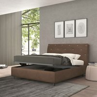 strauss single bed with container brown, vintage effect fabric - TALAMO ITALIA