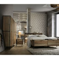 Stretton 3 Piece Bedroom Furniture Set Wardrobe 4 Drawer Chest Bedside Rustic