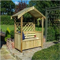 Rowlinson Stretton Arbour Wooden Timber Garden Seat Bench Trellis Storage Box