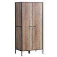 Stretton Urban 2 Door Double Wardrobe Bedroom Furniture Rustic Industrial Oak - TIMBER ART DESIGN UK