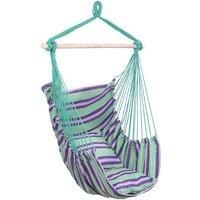 Strip Hanging Chair, Cotton Hammock Chair with 2 Squre Cusion, Hammock Swing Seat Cotton for Patio Porch Bedroom Backyard Indoor or Outdoor (Green)