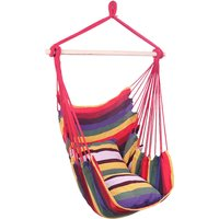 Strip Hanging Chair, Cotton Hammock Chair with 2 Squre Cusion, Hammock Swing Seat Cotton for Patio Porch Bedroom Backyard Indoor or Outdoor (Red)