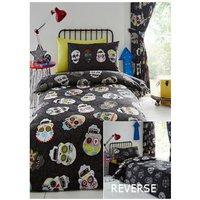 Sugar Skulls Double Duvet Cover Set Boys Bedroom Black Reversible