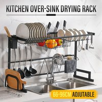 Suitable for single and double 2 tier 66-96CM sinks on adjustable telescopic sink, dish drying rack, display rack, dish drainer, kitchen utensil rack