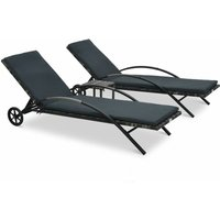 Sun Loungers with Table Poly Rattan Anthracite - Grey - Vidaxl