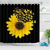 Sunflower Butterfly Print Shower Curtain