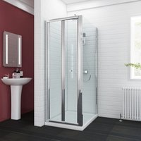 sunny showers 700 x 1000 mm Bifold Glass Shower Enclosure Reversible Folding Cubicle Door with Stone Tray + Waste Set - ELEGANT