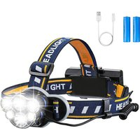 Super Bright Headlamp, Rechargeable LED Torch LED Headlamp with 6 LEDs 12000LM 8 Lighting Modes with USB Cable